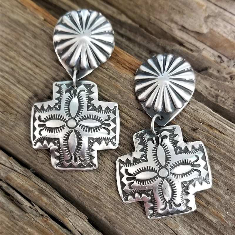 Native American Handmade_Vincent Platero _Sterling Silver Handstamped Earrings